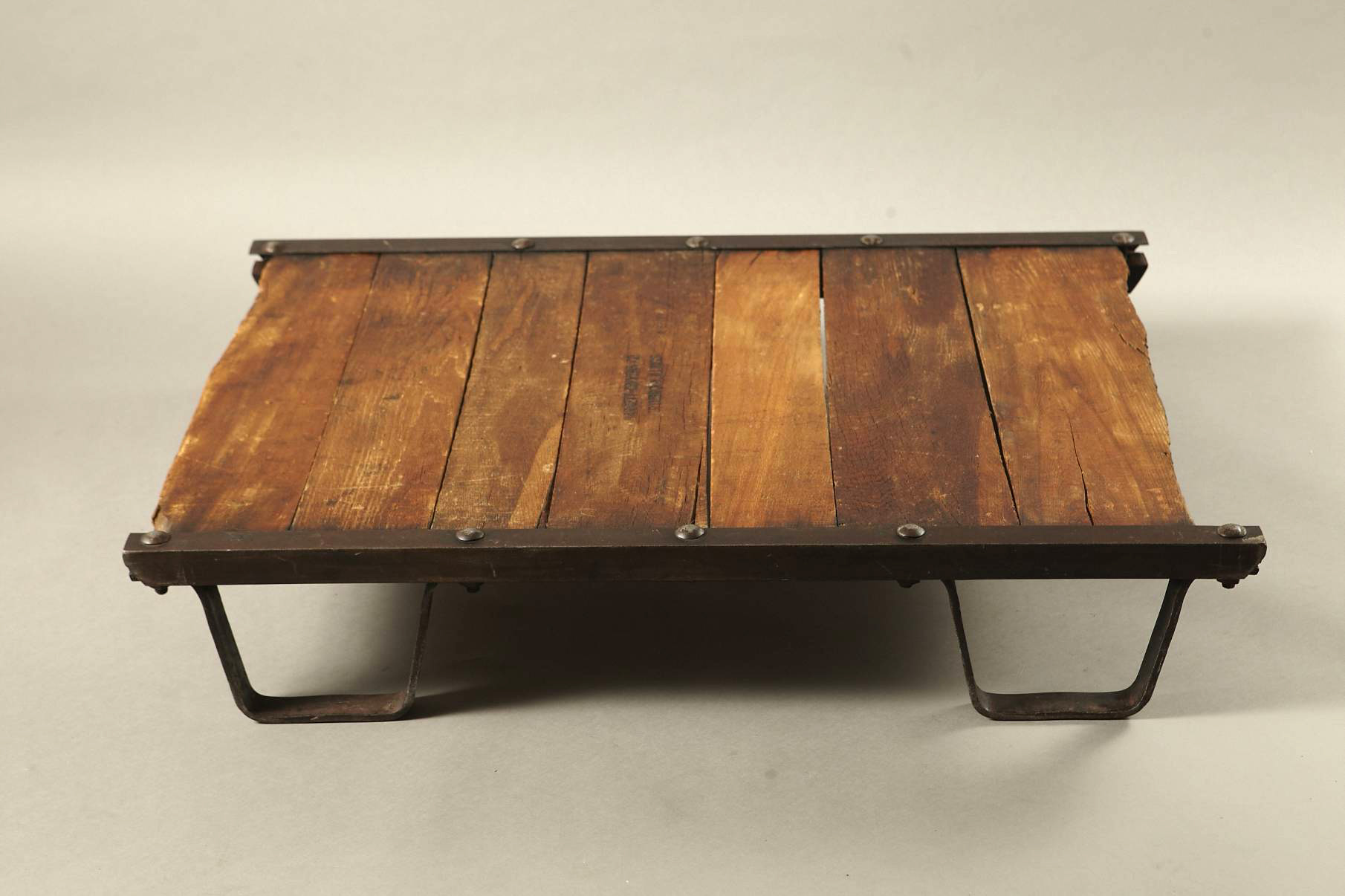 industrial low coffee table from antique wooden pallet